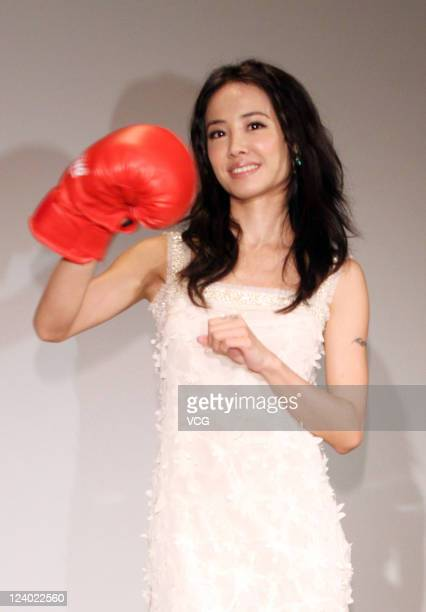 Jolin Tsai poses during a press conference to promote a brand of beer on September 7 2011 in Taipei Taiwan of China