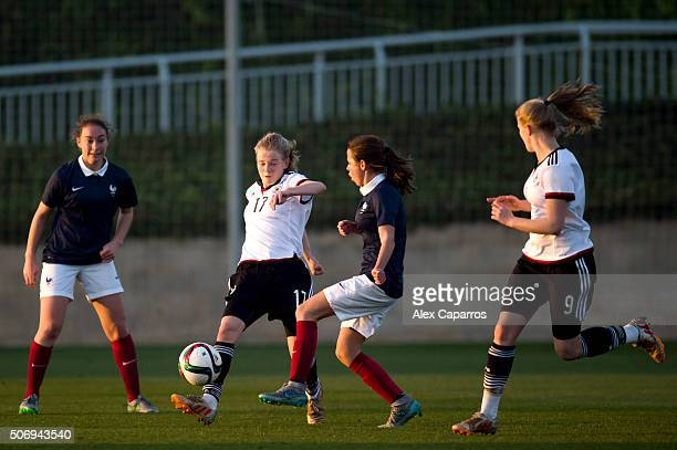 Jolina Opladen of Germany kicks the ball during the U17 girl's international friendly match between Germany and France on January 26 2016 in Salou...