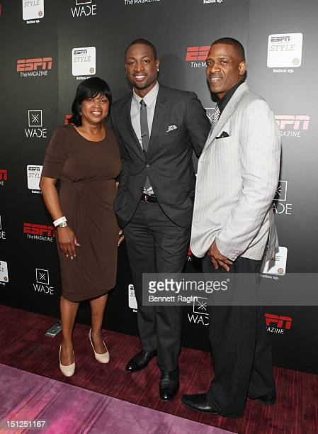 Jolinda Wade Dwyane Wade and Dwyane Wade Sr attend the Dwyane Wade Book Launch Celebration With ESPN The Magazine at Jazz at Lincoln Center on...