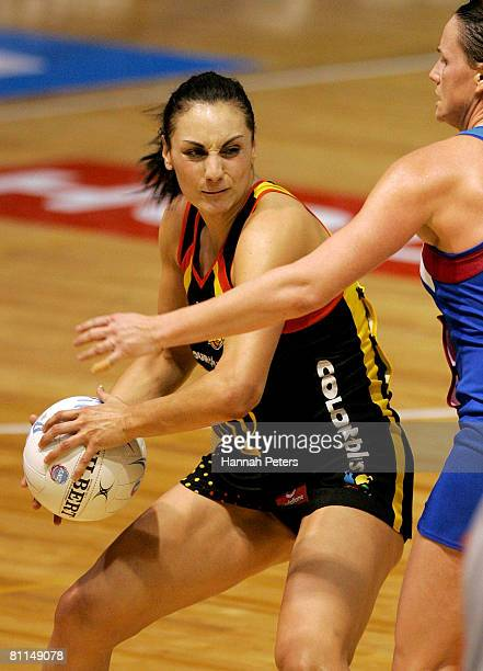 Joline Henry of the Magic attacks during the round five ANZ Championship match between the Waikato Bay of Plenty Magic and the Southern Steel at...