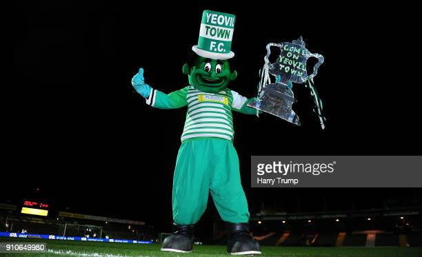Jolly Green Giant The Yeovil Town mascot poses with a Tin Foil FA Cup during The Emirates FA Cup Fourth Round match between Yeovil Town and...