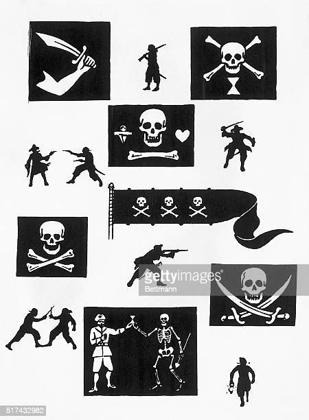 Jolly Roger pirate flags for different pirates interspersed with silhouettes of pirate activity Top from left Thomas Tew Emanuel Wynne Second Row...