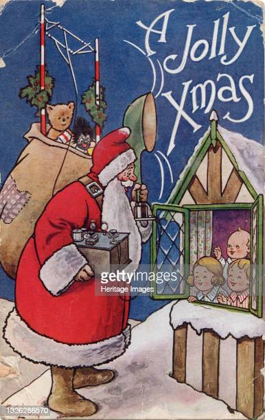 Jolly Xmas, 1934. Father Christmas holds a transmitter with loudspeaker and aerial. Artist Frederick George Lewin.