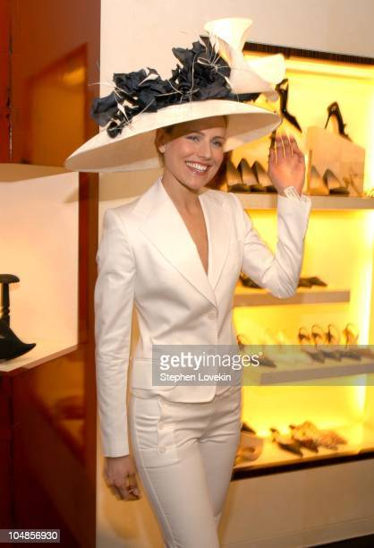 Jolynn Klinge in a hat by Philip Treacy during Philip Treacy Shows His Spring 2003 Hat Collection at Bergdorf's at Bergdorf Goodman in New York City,...