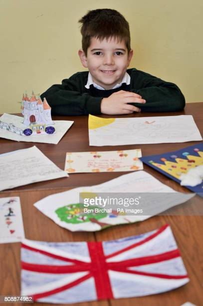 Jolyon Ellis aged six with some hand made invitations addressed to Prince William and Miss Catherine Middleton requesting their attendance for...