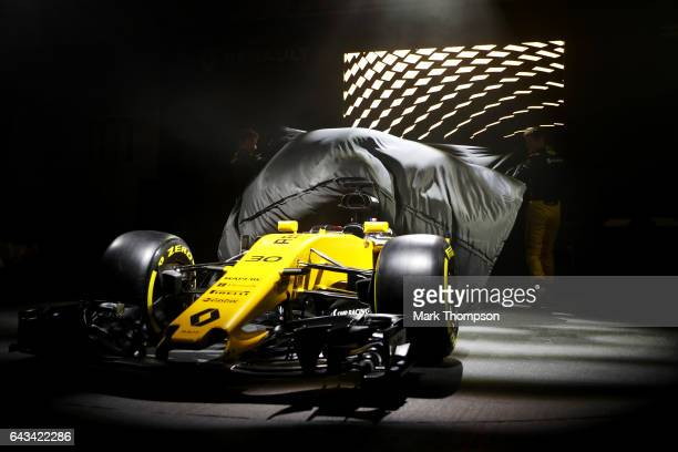 Jolyon Palmer of Great Britain and Renault Sport and Nico Hulkenberg of Germany and Renault Sport unveil the Renault Sport Formula One team's 2017...