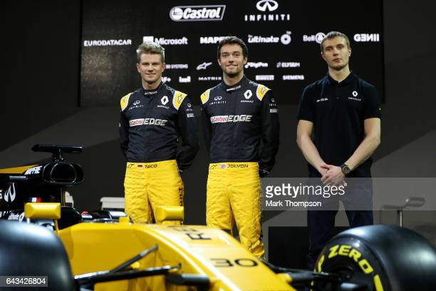 Jolyon Palmer of Great Britain and Renault Sport Nico Hulkenberg of Germany and Renault Sport and Sergey Sirotkin of Russia and Renault Sport pose...