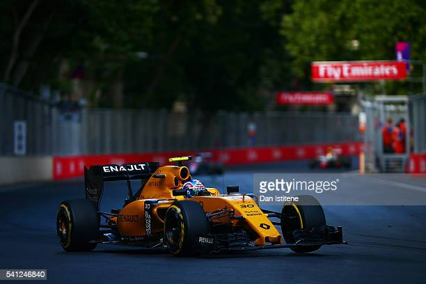 Jolyon Palmer of Great Britain drives the 0 Renault Sport Formula One Team Renault RS16 Renault RE16 turbo during the European Formula One Grand Prix...