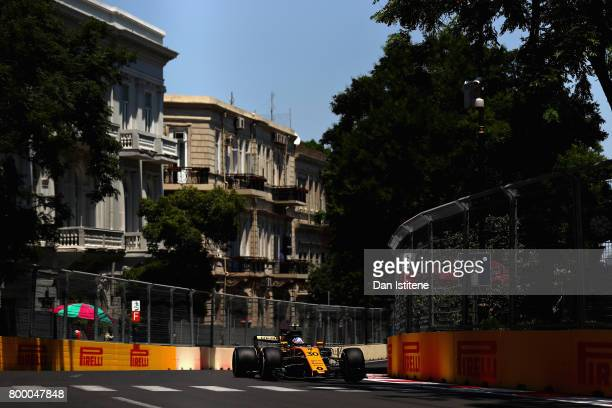 Jolyon Palmer of Great Britain driving the Renault Sport Formula One Team Renault RS17 on track during practice for the European Formula One Grand...