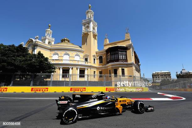 Jolyon Palmer of Great Britain driving the Renault Sport Formula One Team Renault RS17 on track during final practice for the Azerbaijan Formula One...