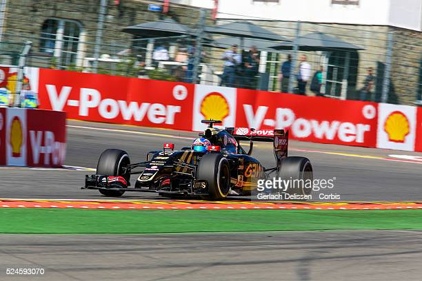 Jolyon Palmer of the Lotus F1 Team during the 2015 Formula 1 Shell Belgian Grand Prix free practise 1 at Circuit de Spa-Francorchamps in Belgium,...