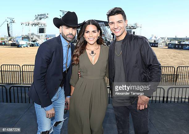 Jomari Goyso Karina Banda and Luis Coronel are seen during Univision and Fusion RiseUp As One Concert rehearsals at CBX on October 13 2016 in San...