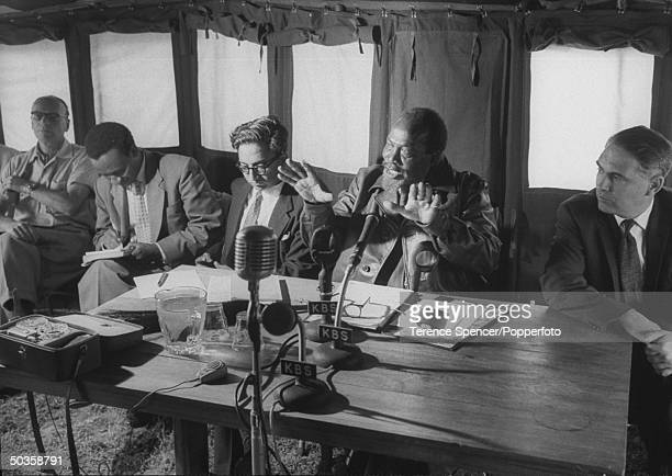 Jomo Kenyatta facing the press for the first time in 8 years