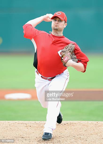 Jon Adkins of the Cincinnati Reds pitches during a Spring Training game against the Arizona Diamondbacks on March 9 2010 at Goodyear Ballpark in...