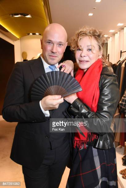 Jon Aguirre Larranaga from Loewe and Grace de Capitani attend the Loewe Cocktail As part of La Fete Des Vendanges At Avenue Montaigne on September 14...