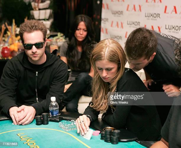 LAS VEGAS NEVADA OCTOBER 06 Jon Alagem from left David Katzenberg and Nicky Hilton attend Nicky Hilton's birthday poker tournament at the Luxor on...