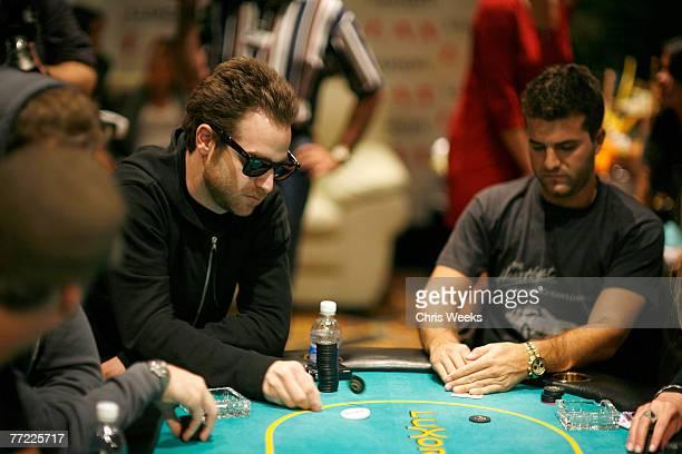 LAS VEGAS OCTOBER 6 Jon Alagem left and David Katzenberg attend Nicky Hilton's birthday poker tournament at the Luxor on October 6 2007 in Las Vegas...