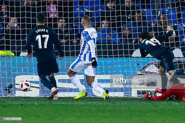 Jon Ander Serantes scores their opening goal during the Copa del Rey Round of 16 second leg match between CD Leganes and Real Madrid at Estadio...