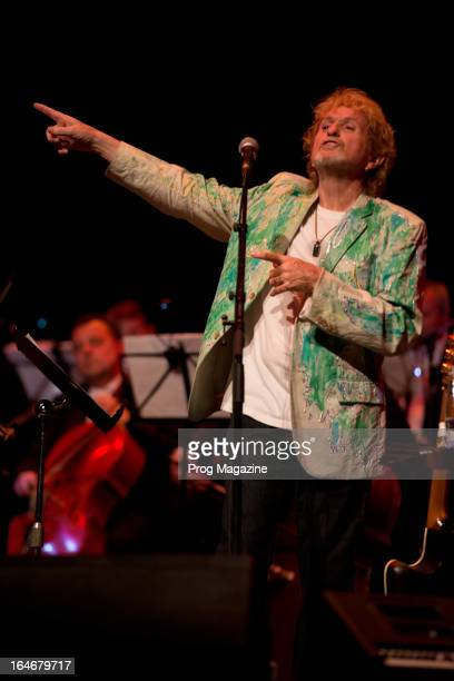 Jon Anderson, former vocalist of British progressive rock band Yes, performing live onstage with the Slovak Symphonic Orchestra at Sadler's Wells...