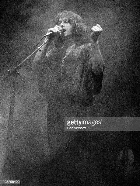Jon Anderson of Yes performs on stage at Ahoy on 24th November 1977 in Rotterdam Netherlands
