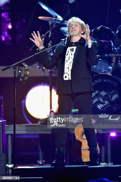 Jon Anderson of YES performs onstage at the 32nd Annual Rock Roll Hall Of Fame Induction Ceremony at Barclays Center on April 7 2017 in New York City...