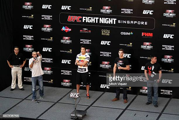 Jon Anik Dong Hyun Kim John Hathaway and Cung Le during the UFC Fight Night Singapore QA at the Shoppes at Marina Bay Sands on January 3 2014 in...