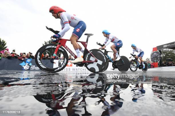 Jon Archibald, Daniel Bigham and Harry Tanfield of the United Kingdom during the 92nd UCI Road World Championships 2019, Team Time Trial Mixed Relay...