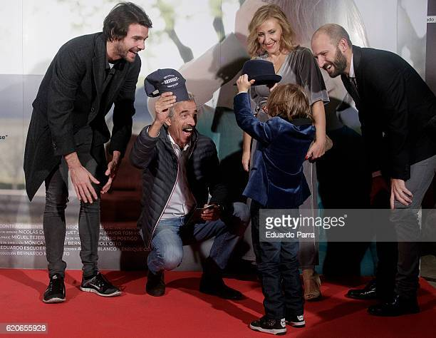 Jon Arias actor Imanol Arias and actor Jan Moll attend the 'La historia de Jan' photocall at Verdi cinema on November 2 2016 in Madrid Spain