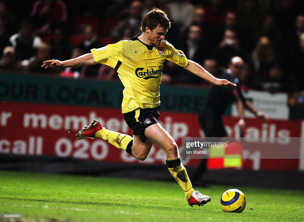 ENGLAND. Jon Arne Riise of Liverpool during the Barclays Premiership match between Charlton Athletic and Liverpool at The Valley on February 1, 2005 in London, England. (Photo by Ian Walton/Getty Images).