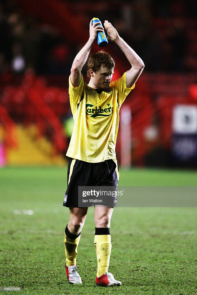 ENGLAND; Jon Arne Riise of Liverpool waves to the crowd during the Barclays Premiership match between Charlton Athletic and Liverpool at The Valley on February 1, 2005 in London, England.