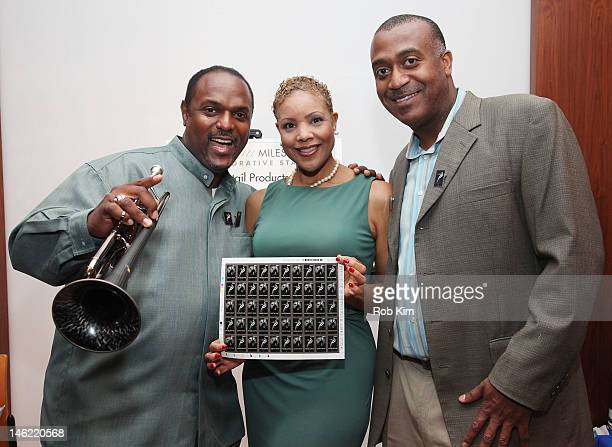 Jon Barnes June Townes and Lafayette Harris Jr attend the United States Postal Service and France's La Poste Miles Davis and Edith Piaf Stamp...