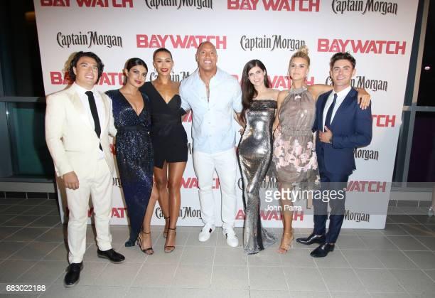 Jon Bass Priyanka Chopra Ilfenesh Hadera Dwayne Johnson Alexandra Daddario Kelly Rohrbach and Zac Efron attend the world premiere of Paramount...