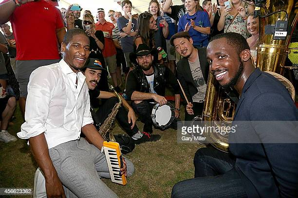 Jon Batiste Eddie Barbash Joe Saylor and Ibanda Ruhumbika of Stay Human perform in concert with Blackberry Smoke on day 1 of the first weekend of the...