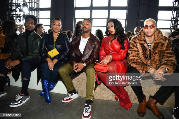 Jon Batiste, Paloma Elsesser, Michael B. Jordan, Megan Thee Stallion and Miles Chamley-Watson attend the Coach 1941 fashion show during February 2020...
