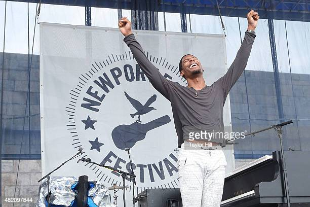 Jon Batiste the new bandleader for Late Night with Stephen Colbert performs during the 2015 Newport Folk Festival at Fort Adams State Park on July 26...