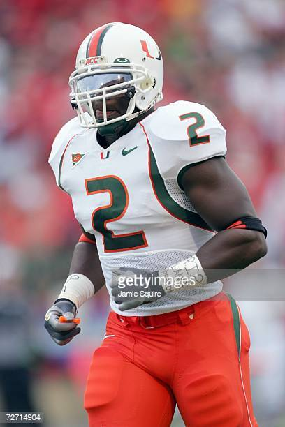 Jon Beason of the Miami Hurricanes jogs on the field during the game against the Maryland Terrapins at Byrd Stadium November 11 2006 in College Park...