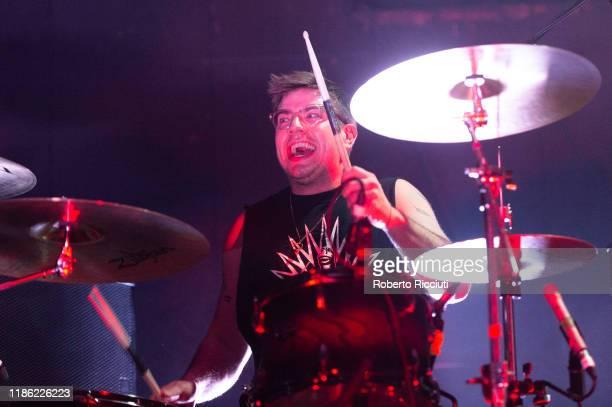 Jon Beavis of Idles performs live at Barrowland Ballroom on December 2 2019 in Glasgow Scotland