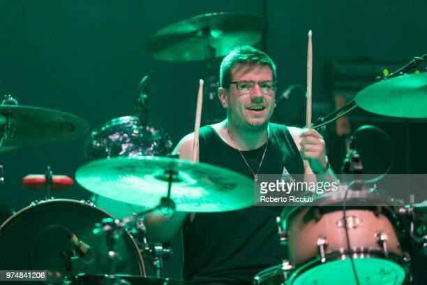 Jon Beavis of Idles performs on stage at Usher Hall on June 14 2018 in Edinburgh Scotland