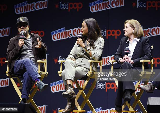 H Jon Benjamin Aisha Tyler and Jessica Walters speak at Archer panel during day 1 of 2016 New York Comic Con at Hammerstein Ballroom on October 6...