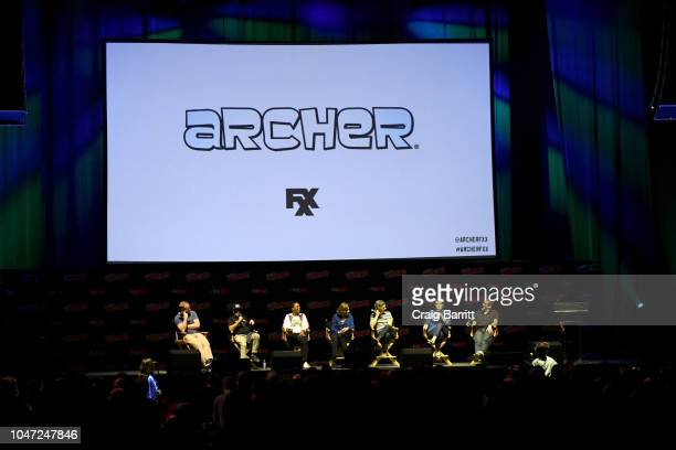 H Jon Benjamin Aisha Tyler Jessica Walter Chris Parnell Amber Nash and Lucky Yates speak onstage at the Archer 1999 – Sneak Preview and QA during New...