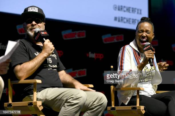 H Jon Benjamin and Aisha Tyler speak onstage at the Archer 1999 – Sneak Preview and QA during New York Comic Con at Hammerstein Ballroom on October 7...