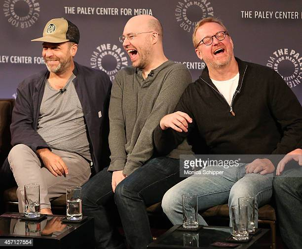 H Jon Benjamin Casey Willis and Matt Thompson attend 2nd Annual Paleyfest New York Presents Archer at Paley Center For Media on October 12 2014 in...