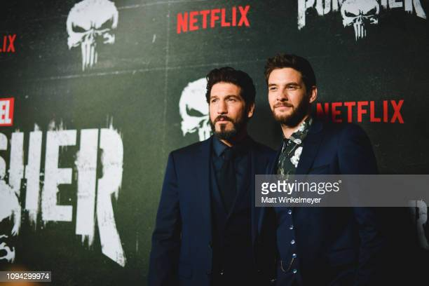 """Jon Bernthal and Ben Barnes attend Marvel's """"The Punisher"""" Los Angeles Premiere at ArcLight Hollywood on January 14, 2019 in Hollywood, California."""