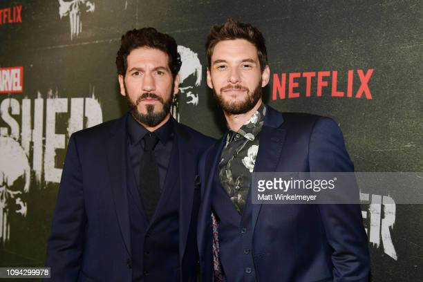 "Jon Bernthal and Ben Barnes attend Marvel's ""The Punisher"" Los Angeles Premiere at ArcLight Hollywood on January 14, 2019 in Hollywood, California."