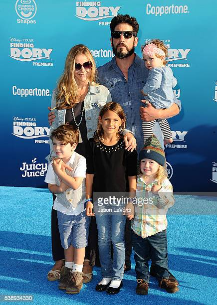 "Jon Bernthal, wife Erin Angle and children attend the premiere of ""Finding Dory"" at the El Capitan Theatre on June 8, 2016 in Hollywood, California."