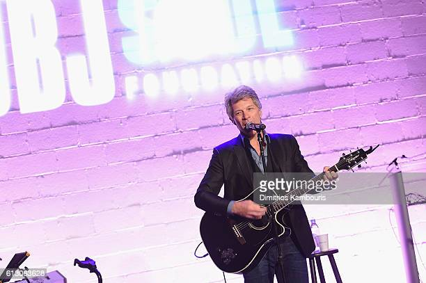 Jon Bon Bovi sings onstage at the Jon Bon Jovi Soul Foundation's 10 year anniversary at the Garage on October 6 2016 in New York City