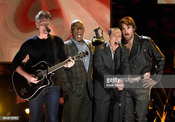 Jon Bon Jovi Al Roker Triumph the Insult Comic Dog Gilbert Gottfried and Will Forte perform onstage at Comedy Central Night Of Too Many Stars at...