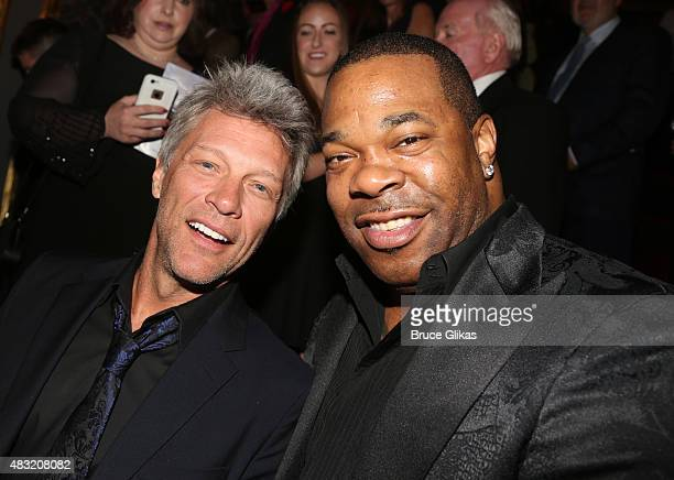 Jon Bon Jovi and Busta Rhymes attend the after party for 'Hamilton' Broadway opening night at Pier 60 on August 6 2015 in New York City