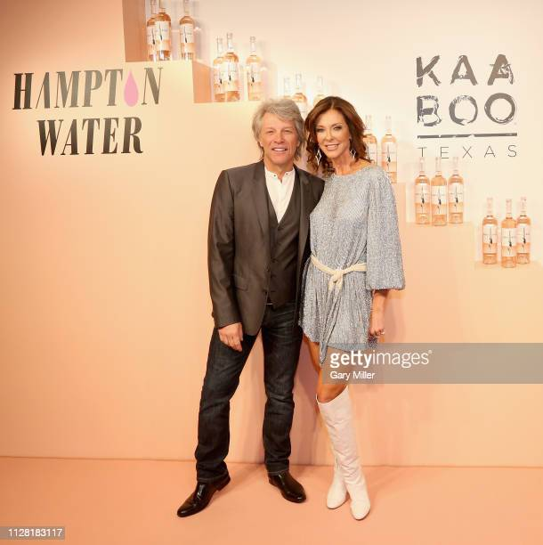 Jon Bon Jovi and Charlotte Jones Anderson attend the KAABOO Texas Welcomes Hampton Water Tasting at The Joule Hotel on February 28 2019 in Dallas...
