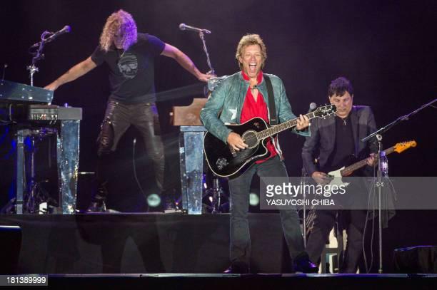 Jon Bon Jovi and David Bryan of the American rock band Bon Jovi perform during the Rock in Rio music festival in Rio de Janeiro Brazil on September...